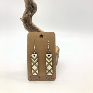 Beautiful White and Gold Handmade Wooden Earrings